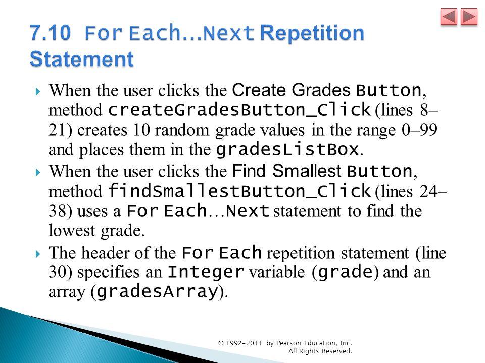 When the user clicks the Create Grades Button, method createGradesButton_Click (lines 8– 21) creates 10 random grade values in the range 0–99 and places them in the gradesListBox.