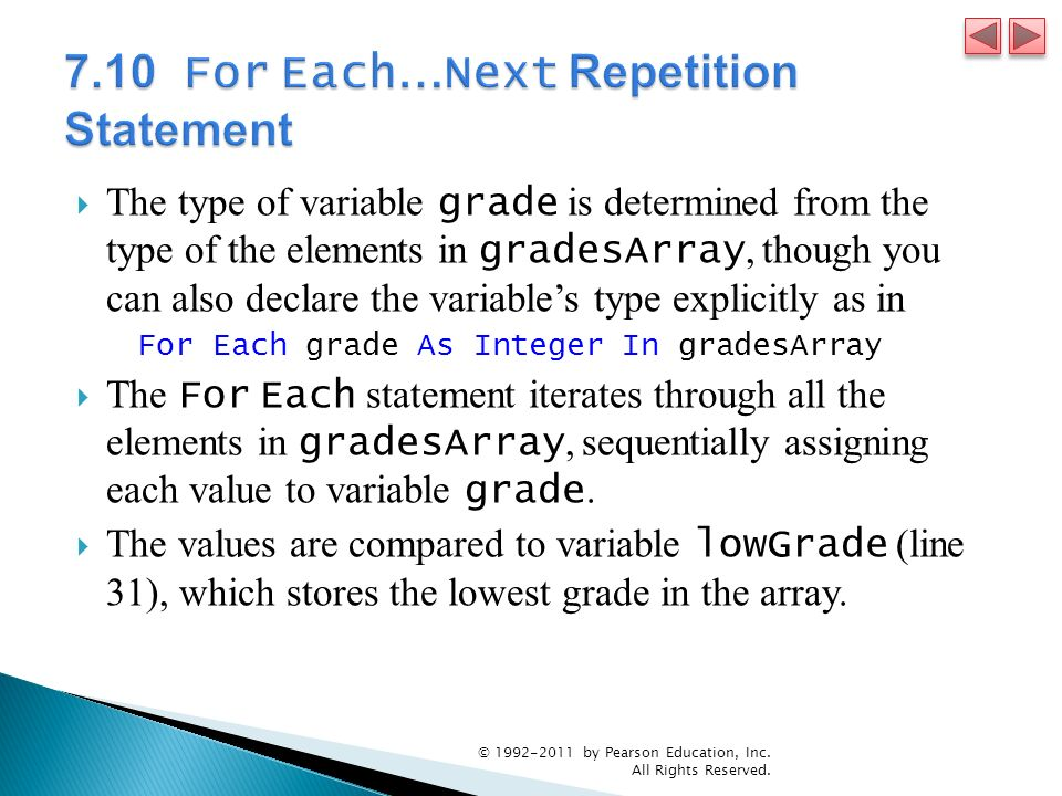 The type of variable grade is determined from the type of the elements in gradesArray, though you can also declare the variables type explicitly as in