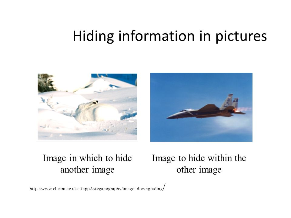 Hiding information in pictures Image in which to hide another image Image to hide within the other image http://www.cl.cam.ac.uk/~fapp2/steganography/