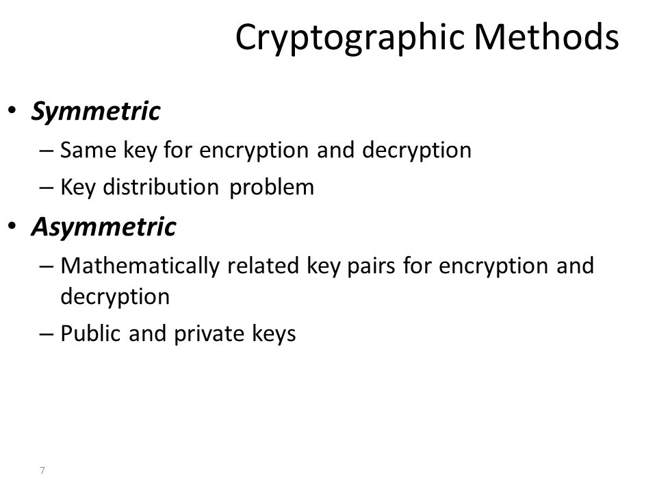 Currently Available Crypto Algorithms (private key) DES (Data Encryption Standard) and derivatives: double DES and triple DES IDEA (International Data Encryption Standard) Blowfish RC5 (Rivest Cipher #5) AES (Advance Encryption Standard)