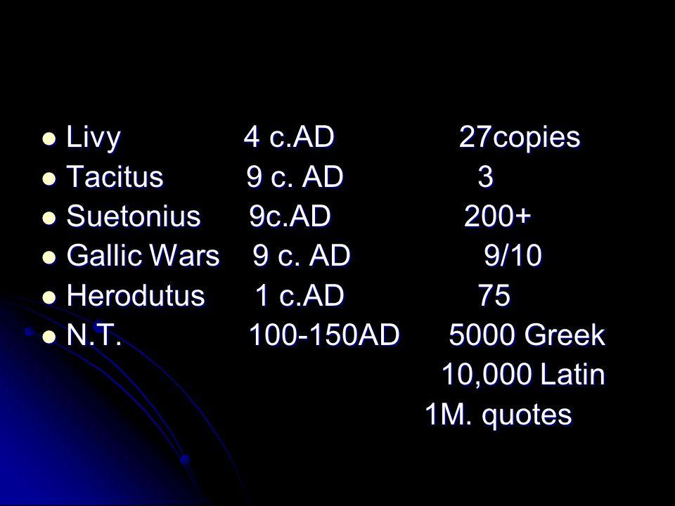 Livy 4 c.AD 27copies Livy 4 c.AD 27copies Tacitus 9 c.