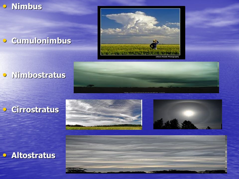 Nimbus Nimbus Cumulonimbus Cumulonimbus Nimbostratus Nimbostratus Cirrostratus Cirrostratus Altostratus Altostratus