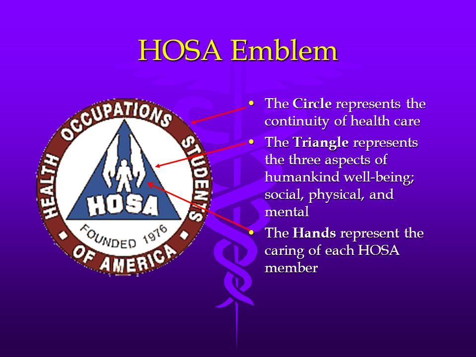 HOSA Emblem The Circle represents the continuity of health careThe Circle represents the continuity of health care The Triangle represents the three a