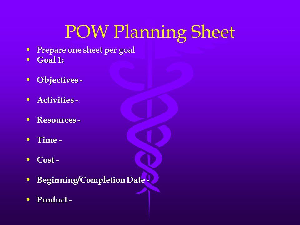 POW Planning Sheet Prepare one sheet per goalPrepare one sheet per goal Goal 1: Goal 1: Objectives - Objectives - Activities - Activities - Resources