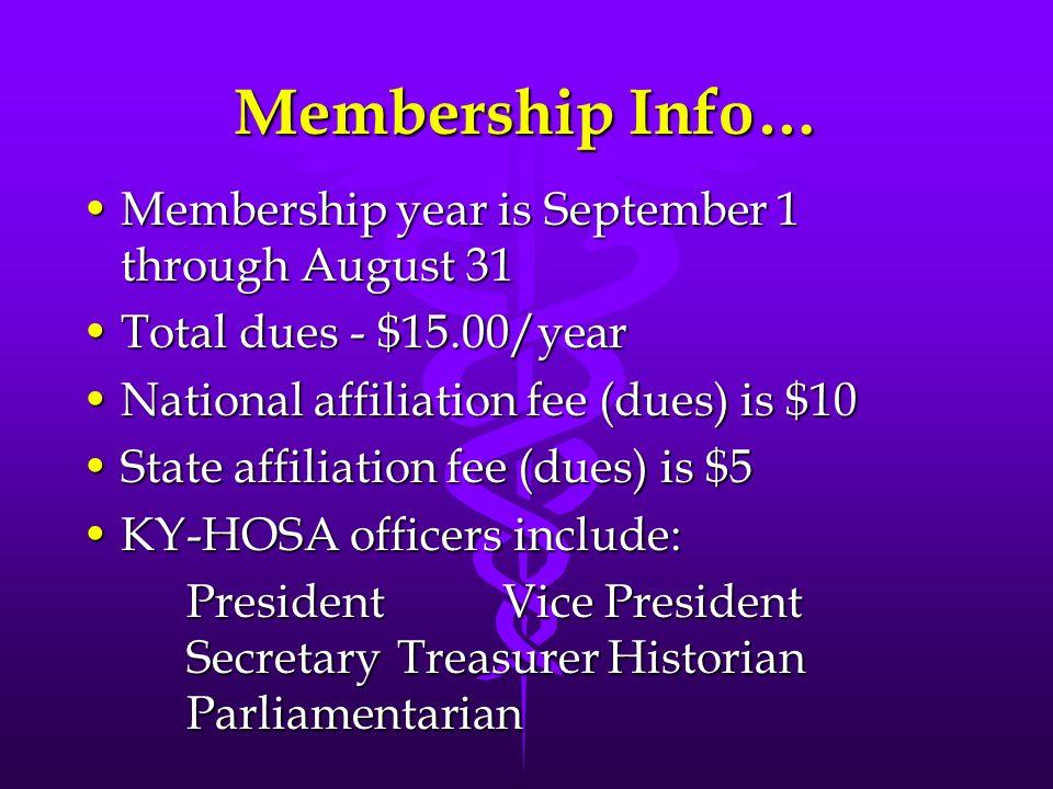 Membership Info… Membership year is September 1 through August 31Membership year is September 1 through August 31 Total dues - $15.00/yearTotal dues -