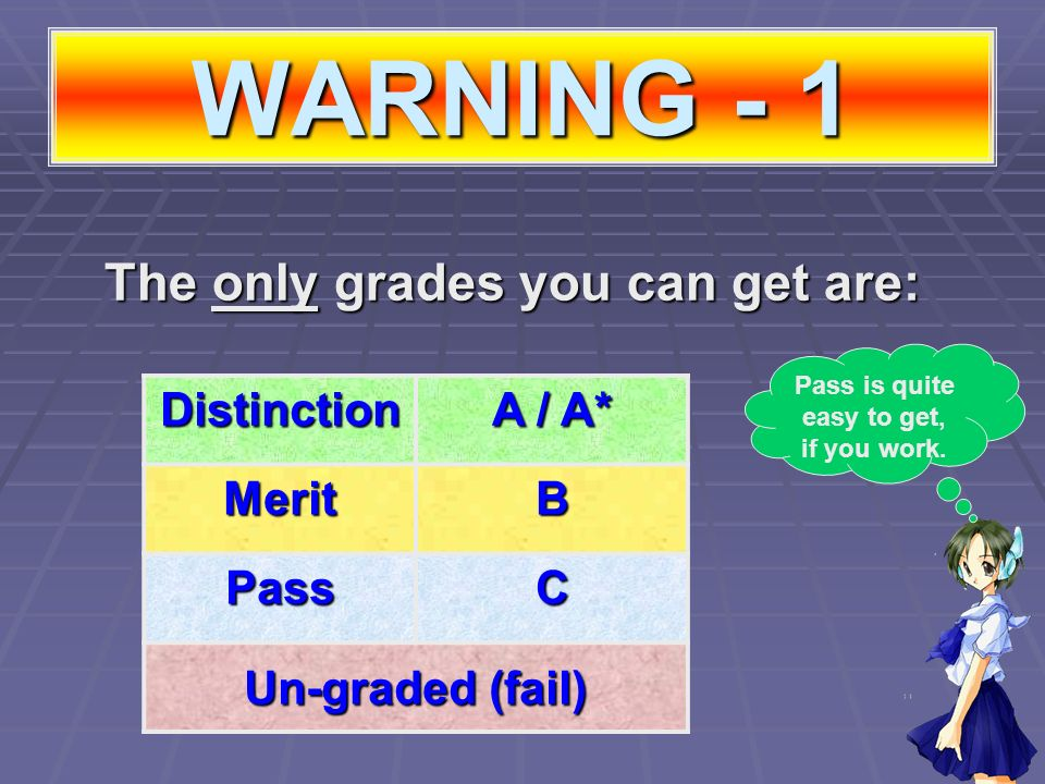 WARNING - 1 The only grades you can get are: Distinction A / A* MeritB PassC Un-graded (fail) Pass is quite easy to get, if you work.