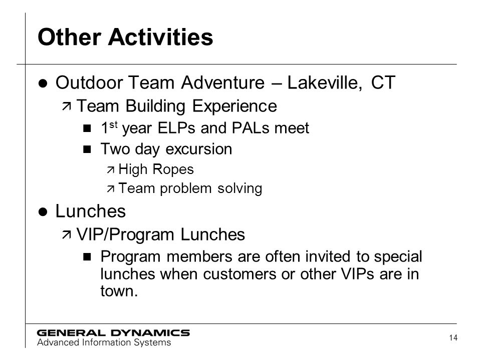14 Other Activities l Outdoor Team Adventure – Lakeville, CT ä Team Building Experience n 1 st year ELPs and PALs meet n Two day excursion ä High Rope