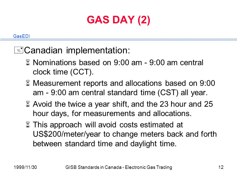 GasEDI 1999/11/30GISB Standards in Canada - Electronic Gas Trading12 GAS DAY (2) +Canadian implementation: 6Nominations based on 9:00 am - 9:00 am central clock time (CCT).