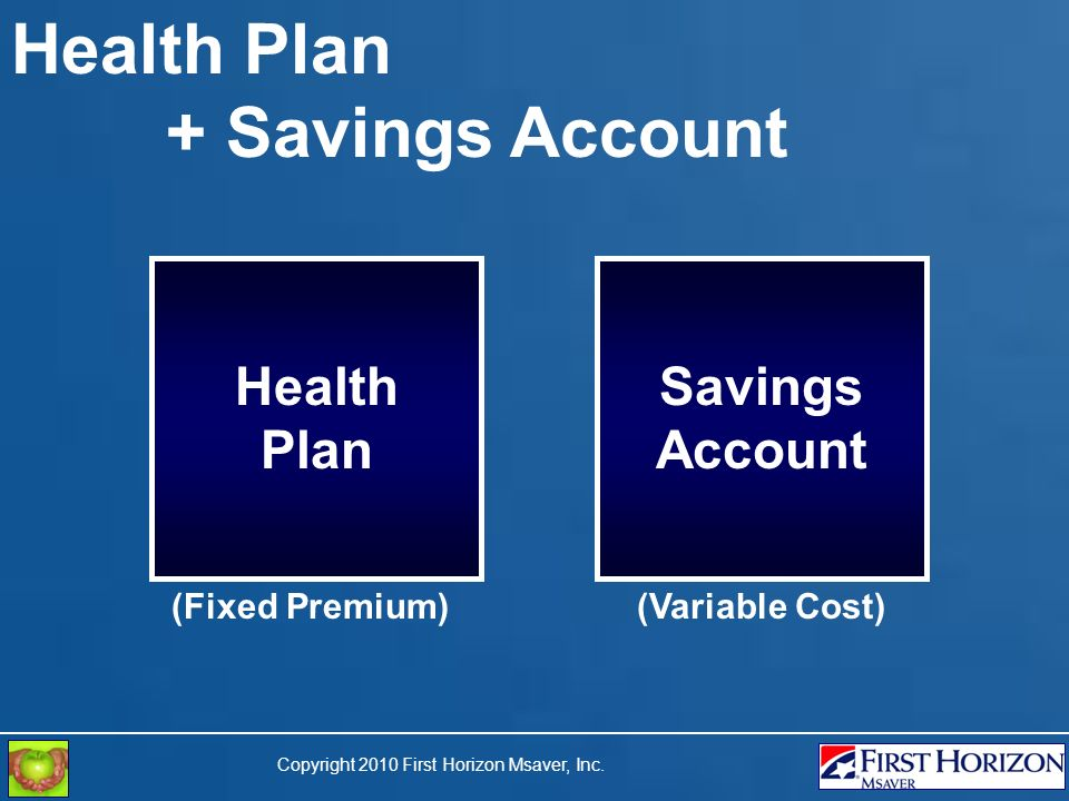 Copyright 2010 First Horizon Msaver, Inc. Health Plan + Savings Account Health Plan Savings Account (Fixed Premium)(Variable Cost)