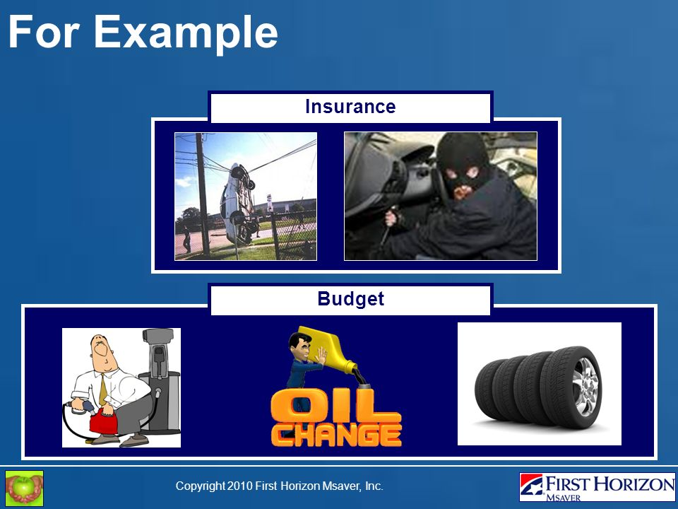 Copyright 2010 First Horizon Msaver, Inc. For Example Insurance Budget