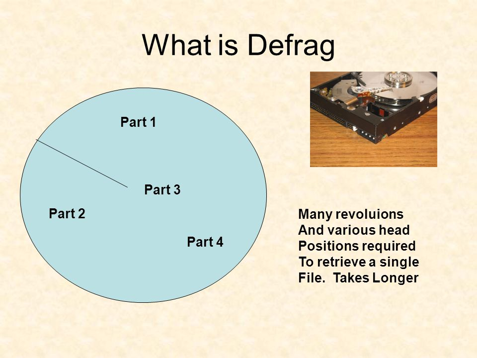 What is Defrag Part 1 Part 2 Part 3 Part 4 Many revoluions And various head Positions required To retrieve a single File. Takes Longer