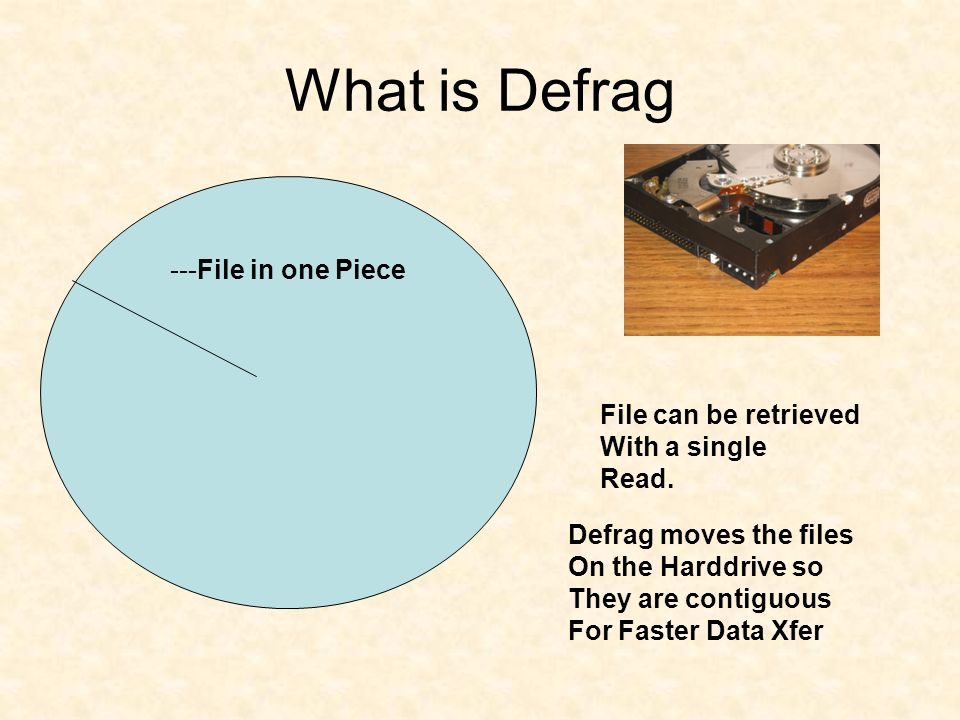 What is Defrag ---File in one Piece File can be retrieved With a single Read.