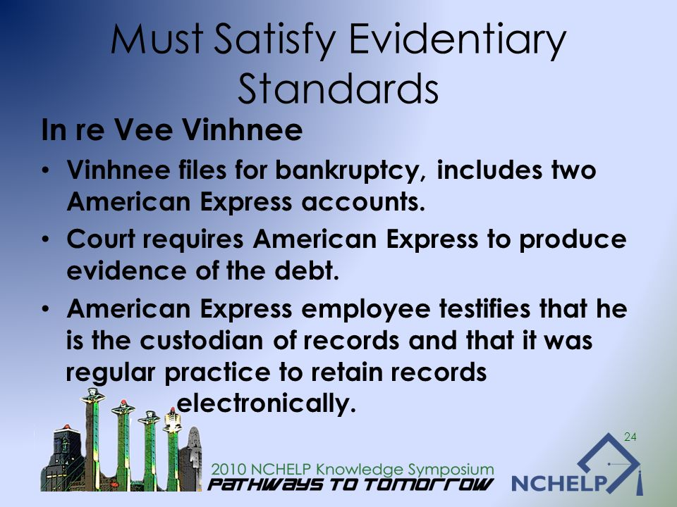 Must Satisfy Evidentiary Standards In re Vee Vinhnee Vinhnee files for bankruptcy, includes two American Express accounts. Court requires American Exp