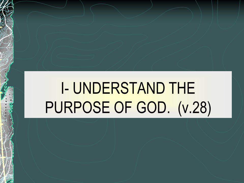 I- UNDERSTAND THE PURPOSE OF GOD. (v.28)