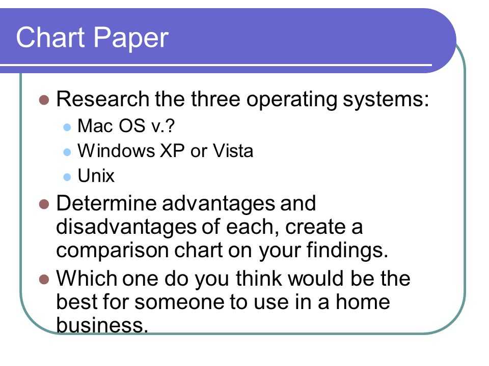 Chart Paper Research the three operating systems: Mac OS v..