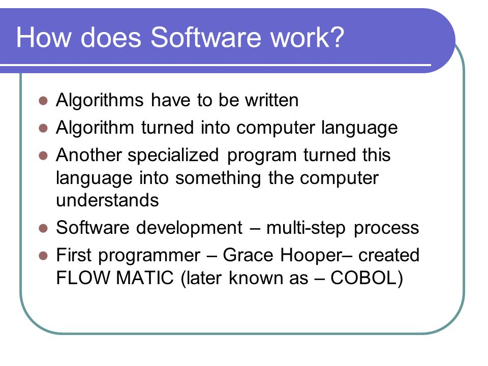How does Software work.