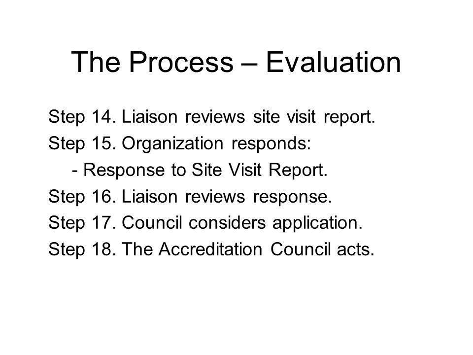 The Process – Evaluation Step 14. Liaison reviews site visit report.