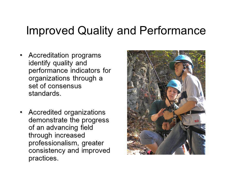 Improved Quality and Performance Accreditation programs identify quality and performance indicators for organizations through a set of consensus standards.Accreditation programs identify quality and performance indicators for organizations through a set of consensus standards.