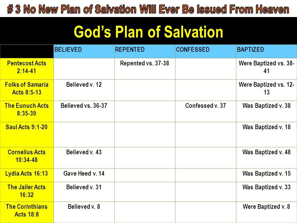 Gods Plan of Salvation Confess Matt. 10:32-33 Confess Matt. 10:32-33 Repent Lk. 13:3 Repent Lk. 13:3 Baptism Acts 2:38 Baptism Acts 2:38 Faithful Rev.