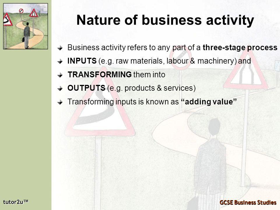 tutor2u tutor2u GCSE Business Studies tutor2u tutor2u GCSE Business Studies Nature of business activity Business activity refers to any part of a thre