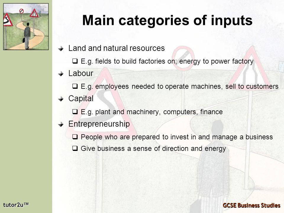 tutor2u tutor2u GCSE Business Studies tutor2u tutor2u GCSE Business Studies Main categories of inputs Land and natural resources E.g. fields to build