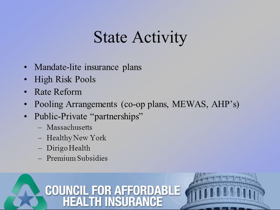 State Activity Mandate-lite insurance plans High Risk Pools Rate Reform Pooling Arrangements (co-op plans, MEWAS, AHPs) Public-Private partnerships –Massachusetts –Healthy New York –Dirigo Health –Premium Subsidies