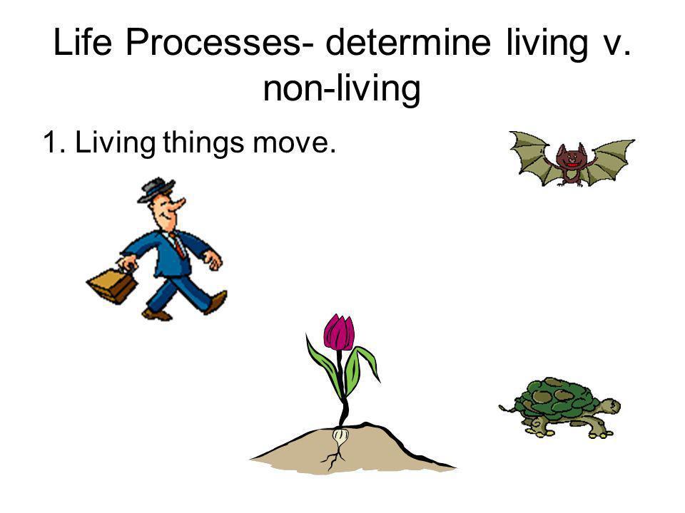 Life Processes- determine living v. non-living 1. Living things move.