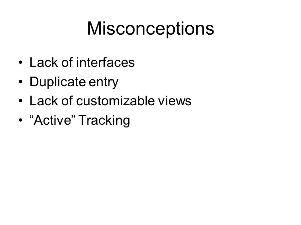 Misconceptions Lack of interfaces Duplicate entry Lack of customizable views Active Tracking
