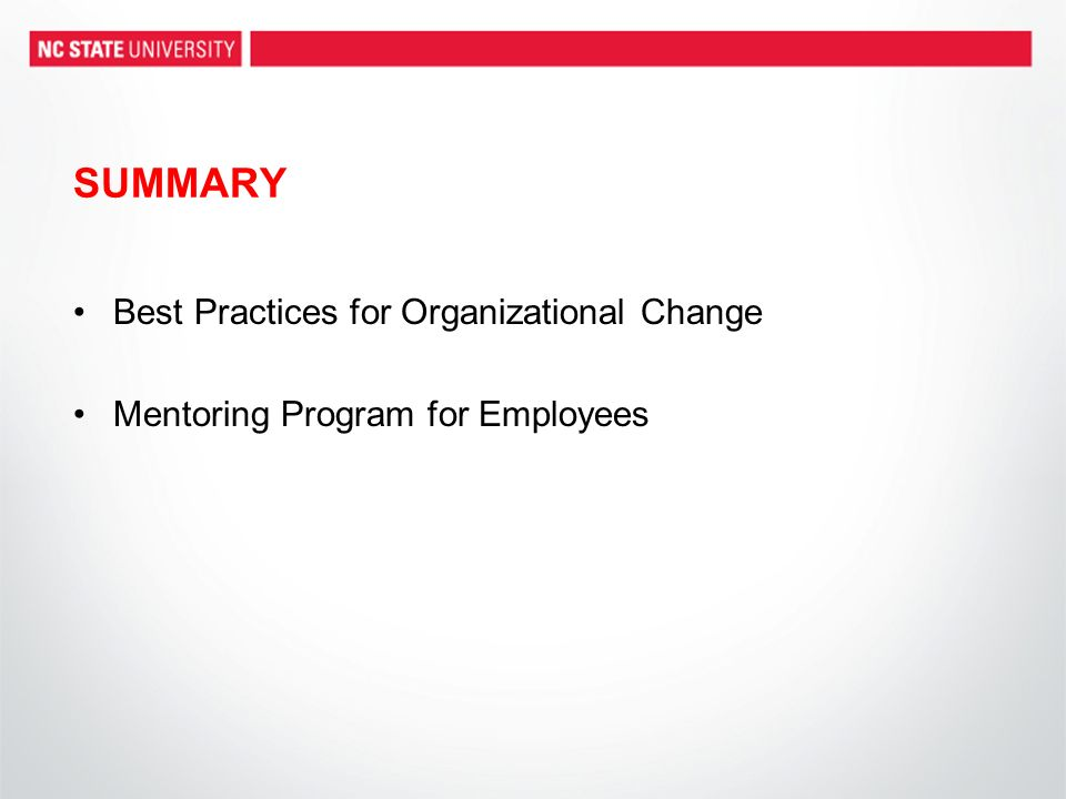 SUMMARY Best Practices for Organizational Change Mentoring Program for Employees