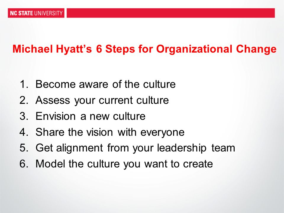 Michael Hyatts 6 Steps for Organizational Change 1.Become aware of the culture 2.Assess your current culture 3.Envision a new culture 4.Share the visi