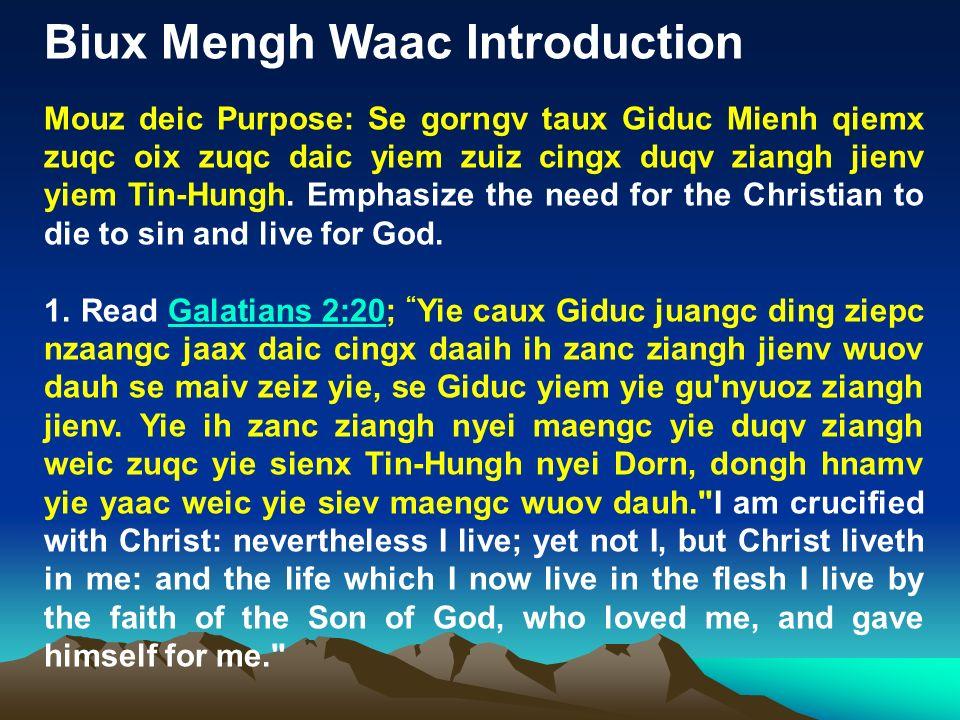 Biux Mengh Waac Introduction Mouz deic Purpose: Se gorngv taux Giduc Mienh qiemx zuqc oix zuqc daic yiem zuiz cingx duqv ziangh jienv yiem Tin-Hungh.