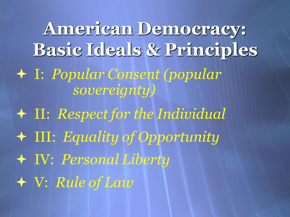 American Democracy: Basic Ideals & Principles I: Popular Consent (popular sovereignty) II: Respect for the Individual III: Equality of Opportunity IV: