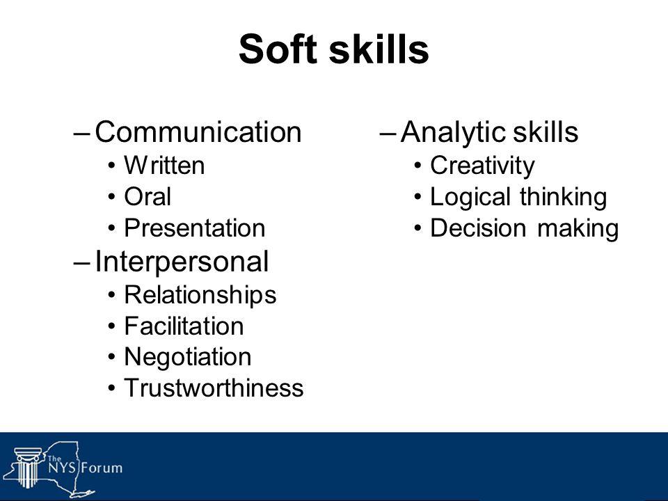Soft skills –Communication Written Oral Presentation –Interpersonal Relationships Facilitation Negotiation Trustworthiness –Analytic skills Creativity Logical thinking Decision making