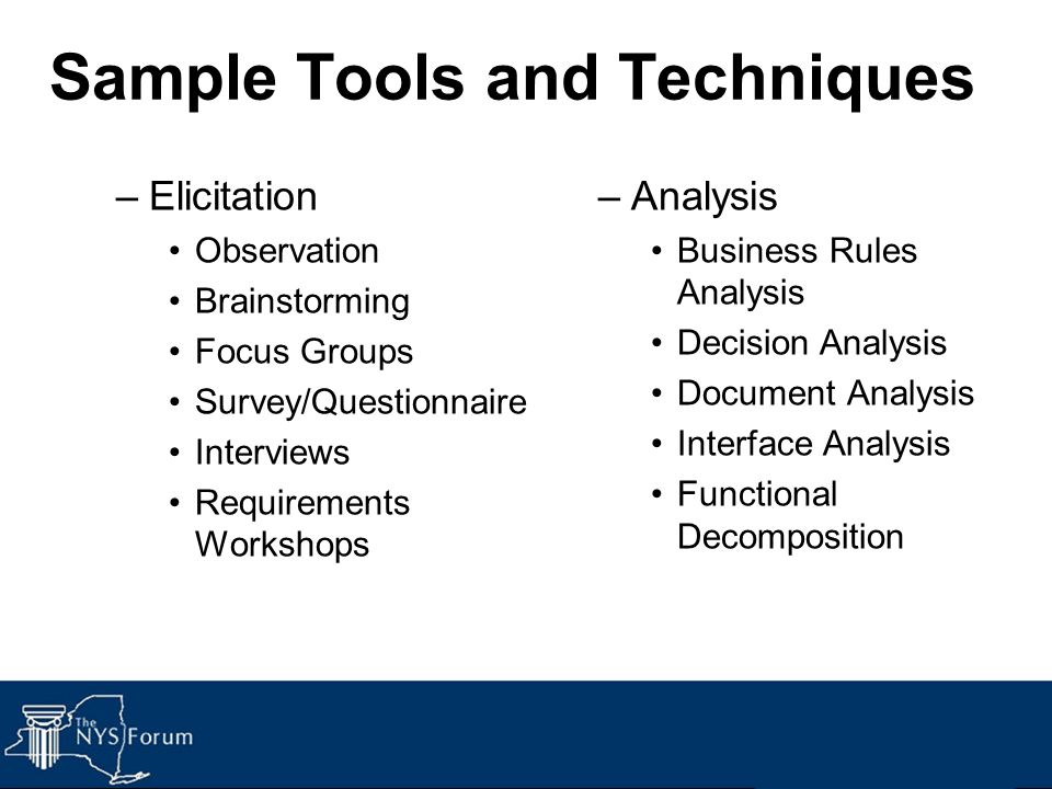 Sample Tools and Techniques –Elicitation Observation Brainstorming Focus Groups Survey/Questionnaire Interviews Requirements Workshops –Analysis Busin
