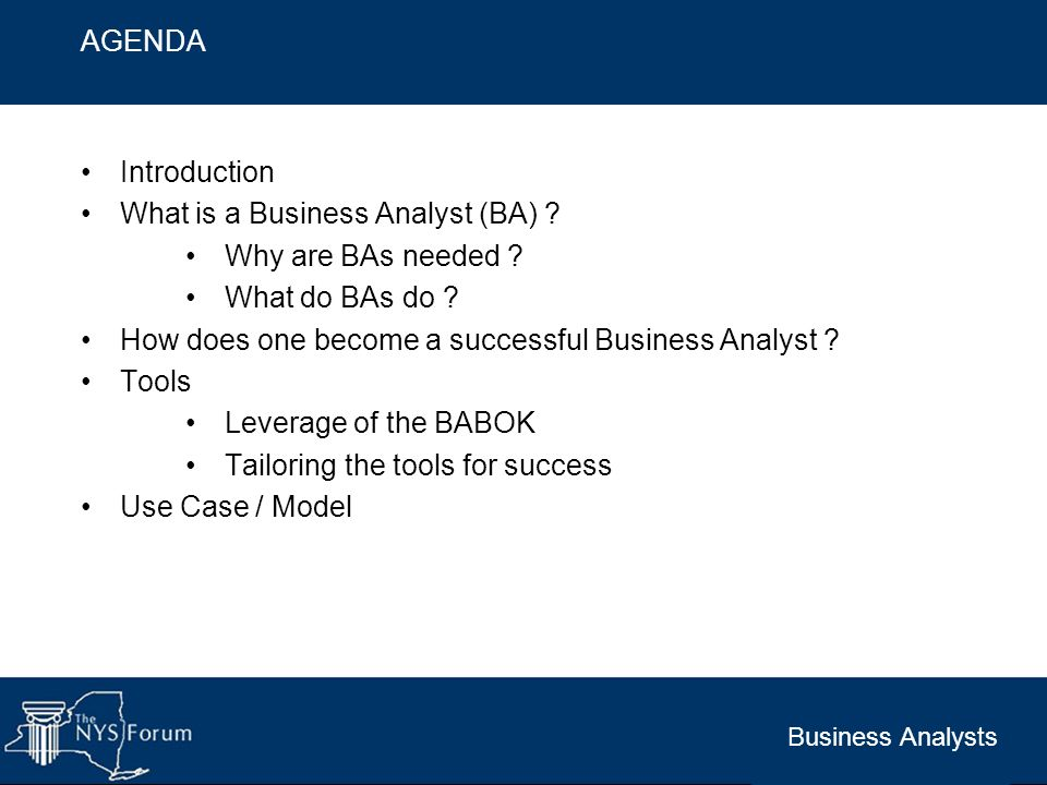 Business Analysts Introduction What is a Business Analyst (BA) ? Why are BAs needed ? What do BAs do ? How does one become a successful Business Analy