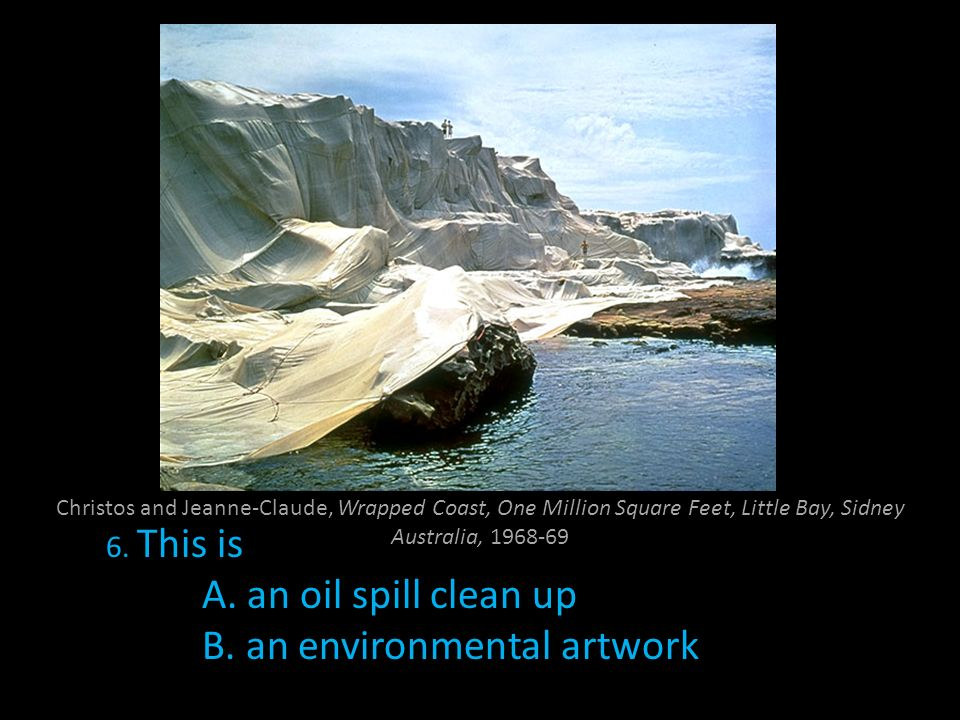 Christos and Jeanne-Claude, Wrapped Coast, One Million Square Feet, Little Bay, Sidney Australia, 1968-69 6. This is A. an oil spill clean up B. an en