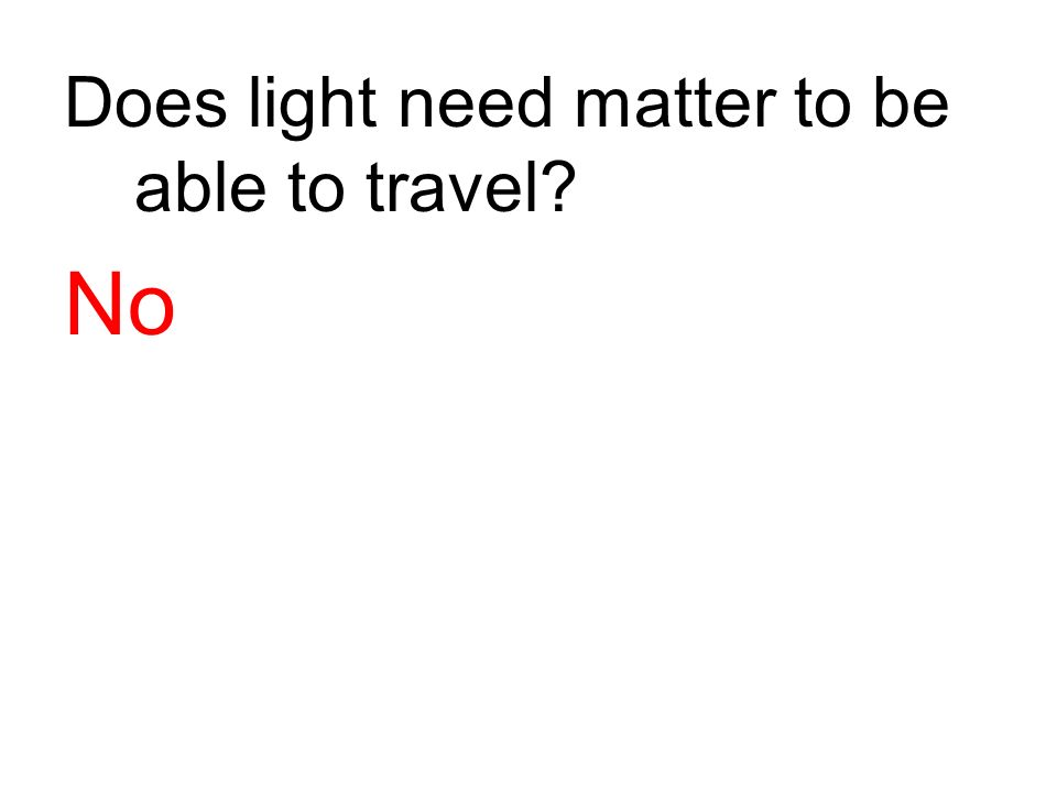 Does light need matter to be able to travel? No