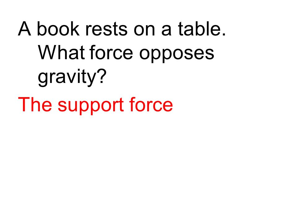 A book rests on a table. What force opposes gravity? The support force