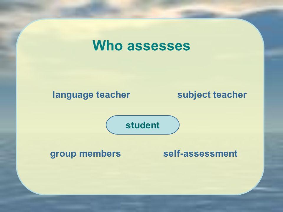 Who assesses student language teachersubject teacher group membersself-assessment