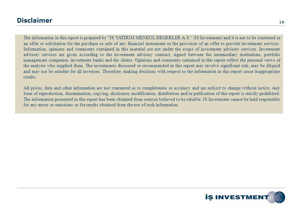 Investor Relations 18 Mr. Mert Erdoğmuş Assistant General Manager Phone : +90 0212 350 24 12 Fax : +90 0212 350 20 01 E-mail : merdogmus@isinvestment.