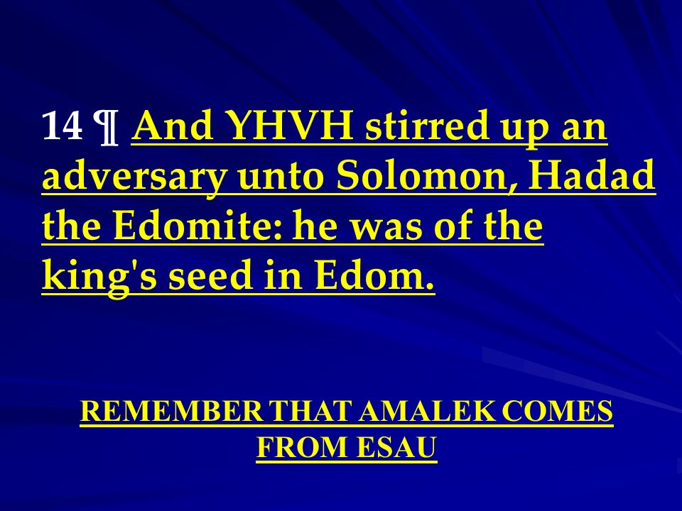 14 ¶ And YHVH stirred up an adversary unto Solomon, Hadad the Edomite: he was of the king's seed in Edom. REMEMBER THAT AMALEK COMES FROM ESAU