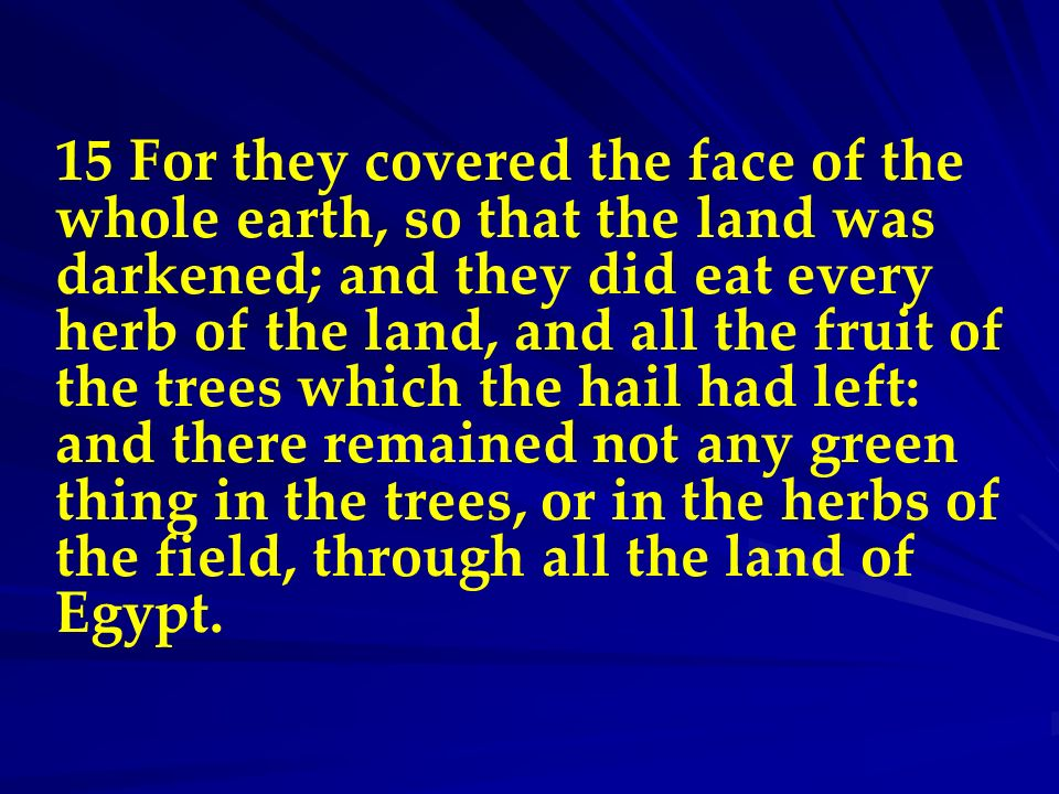 15 For they covered the face of the whole earth, so that the land was darkened; and they did eat every herb of the land, and all the fruit of the tree