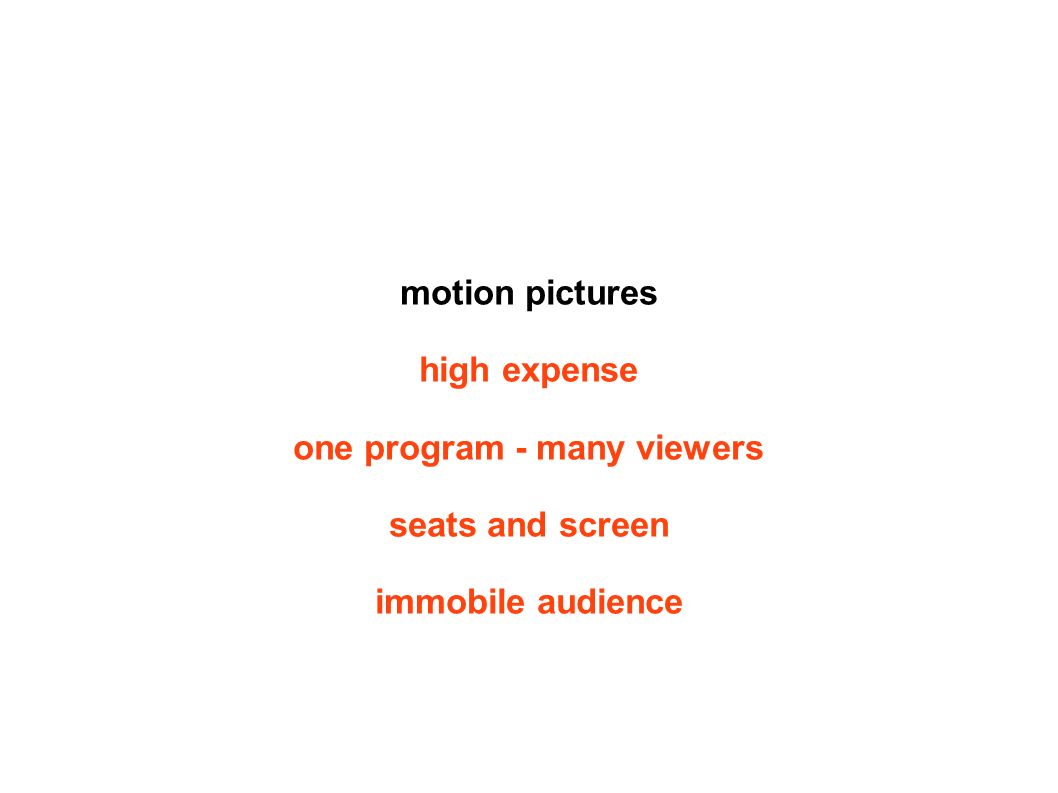 motion pictures high expense one program - many viewers seats and screen immobile audience