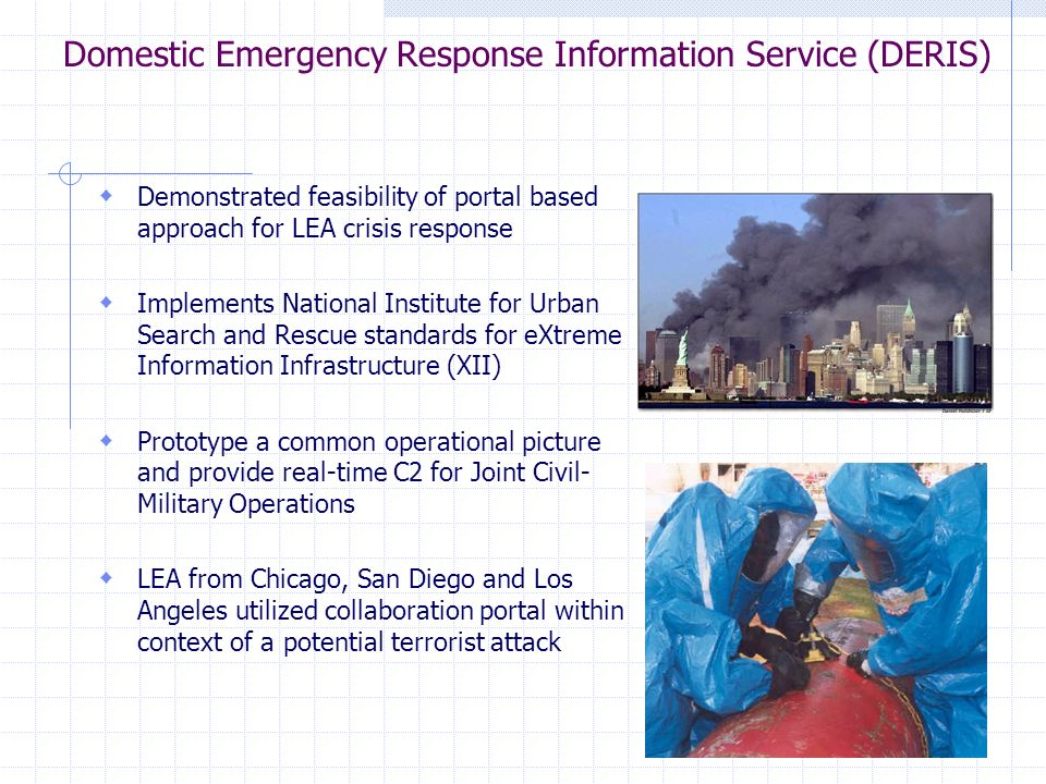 Domestic Emergency Response Information Service (DERIS) Demonstrated feasibility of portal based approach for LEA crisis response Implements National Institute for Urban Search and Rescue standards for eXtreme Information Infrastructure (XII) Prototype a common operational picture and provide real-time C2 for Joint Civil- Military Operations LEA from Chicago, San Diego and Los Angeles utilized collaboration portal within context of a potential terrorist attack