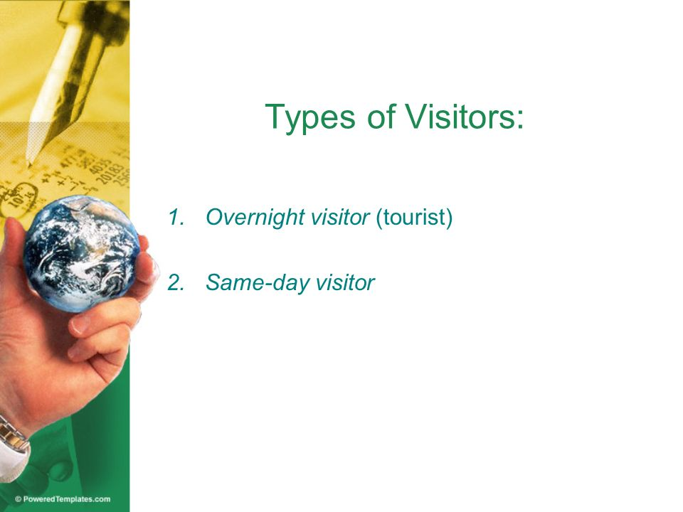 Types of Visitors: 1.Overnight visitor (tourist) 2.Same-day visitor