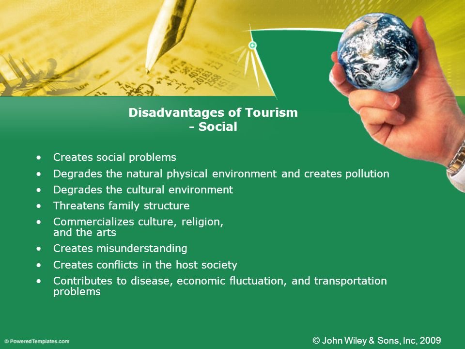 Creates social problems Degrades the natural physical environment and creates pollution Degrades the cultural environment Threatens family structure C