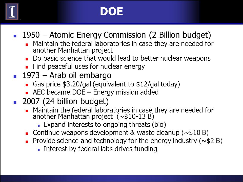 DOE 1950 – Atomic Energy Commission (2 Billion budget) Maintain the federal laboratories in case they are needed for another Manhattan project Do basi
