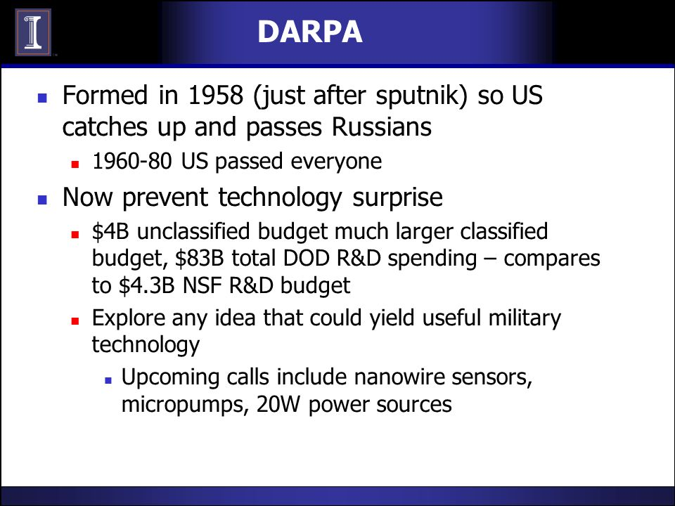 DARPA Formed in 1958 (just after sputnik) so US catches up and passes Russians 1960-80 US passed everyone Now prevent technology surprise $4B unclassi