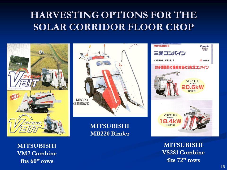 HARVESTING OPTIONS FOR THE SOLAR CORRIDOR FLOOR CROP 15 MITSUBISHI VM7 Combine fits 60 rows MITSUBISHI MB220 Binder MITSUBISHI VS281 Combine fits 72 rows