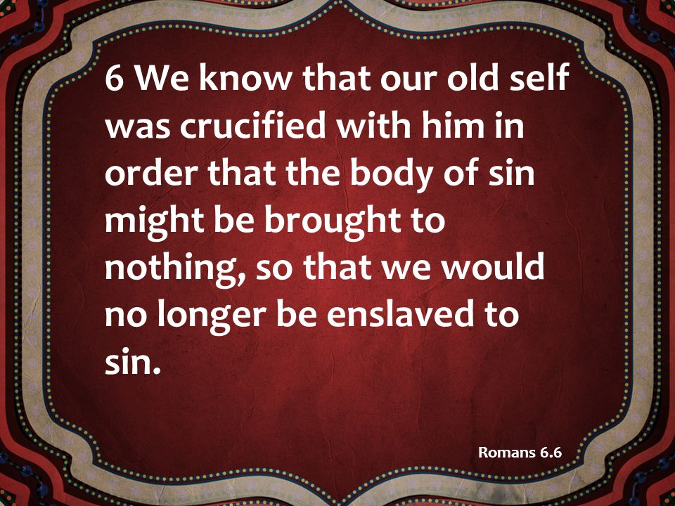 6 We know that our old self was crucified with him in order that the body of sin might be brought to nothing, so that we would no longer be enslaved t